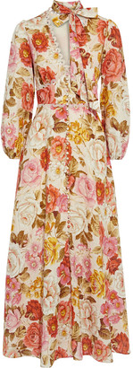 Zimmermann Bonita Pussy-bow Floral-print Linen Maxi Dress