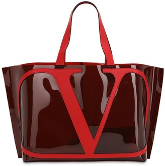 Valentino VLOGO POLYMERIC & LEATHER TOTE BAG