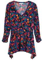 Chaus Women's Floral Field Ruched Handkerchief Top