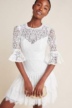 ML Monique Lhuillier Tiered Floral-Lace Dress
