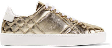 Burberry Quilted Metallic Leather Sneakers - Gold