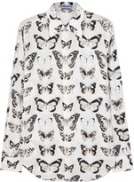 Alexander Mcqueen White Moth-print Cotton Shirt