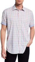 Bugatchi Men's Checkered Short-Sleeve Shirt