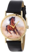 Whimsical Watches Kids' P0110023 Classic Arabian Horse Black Leather And Goldtone Photo Watch