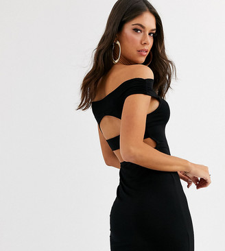 Asos Tall ASOS DESIGN Tall going out bardot cut out back detail mini dress in black