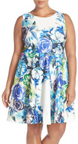 Eliza J Floral Print Scuba Fit & Flare Dress (Plus Size)