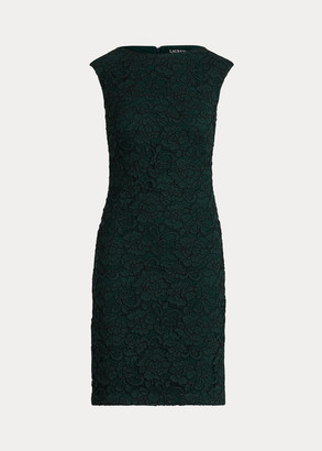 Ralph Lauren Floral Lace Cap-Sleeve Dress