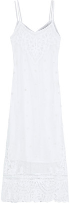 LoveShackFancy Bethan Lace-paneled Open-knit Cotton Midi Slip Dress