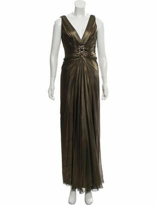 Roland Nivelais Silk Metallic Dress gold