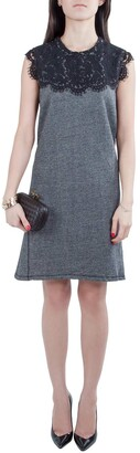 Sea Grey Wool and Lace Neckline Detail Sleeveless Dress S