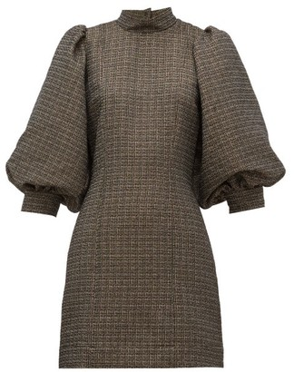 Ganni Gigot-sleeves High-neck Tweed Mini Dress - Black
