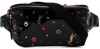 Saint Laurent Black Stone Embellished Patent Leather Belt Bag