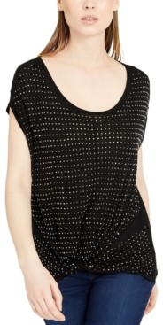 INC International Concepts Inc Studded Twist-Front T-Shirt, Created for Macy's