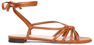 Loeffler Randall Lorelai Flat Ankle-Wrap Leather Sandals