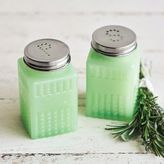 Sur La Table Green Glass Salt and Pepper Shakers