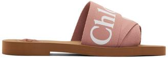 Chloé Pink Logo Woody Flat Mules