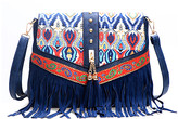 Angedanlia Women's Crossbodies BLUE - Blue Geometric-Accent Fringe Crossbody Bag