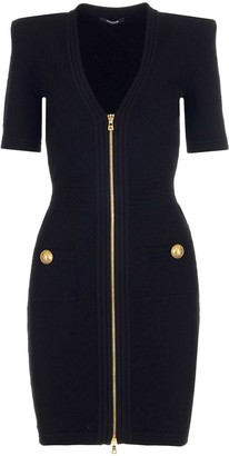 Balmain V-Neck Knit Dress