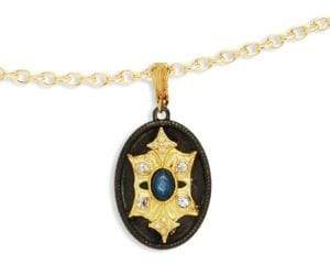 Armenta Old World Sapphire & Yellow Gold Medallion Pendant