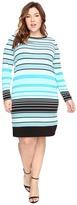 MICHAEL Michael Kors Size Abbey Stripe Long Sleeve Border Dress