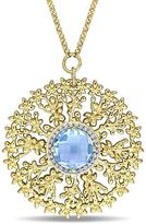 Laura Ashley 5 3/7 CT TW Topaz and Diamond Yellow-Plated Silver Medallion Necklace
