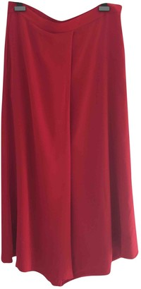 LAYEUR Red Silk Trousers for Women