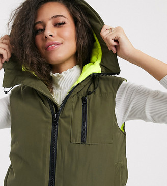 Asos DESIGN Petite hooded contrast gilet jacket in khaki and neon yellow