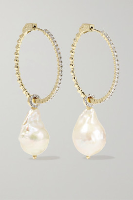 Mateo 14-karat Gold, Pearl And Diamond Hoop Earrings - one size