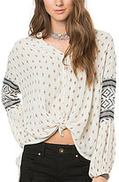 O'Neill Lilth Tribal Tie-Hem Button-Front Blouse