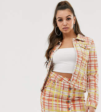 N. Liquor Poker bright check denim jacket co-ord-Multi
