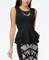 Thalia Sodi Textured Peplum Necklace Top, Created for Macy's
