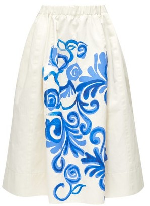 Marni Floral-print Cotton-blend Midi Skirt - Blue White