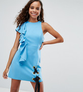 Asos Scuba Eyelet Tie Up Ruffle Mini Dress