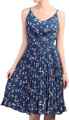 Jolie Moi Floral Pleated Dress, Teal