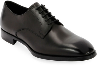 Giorgio Armani Men's Smooth Leather Rubber-Sole Derby Shoe