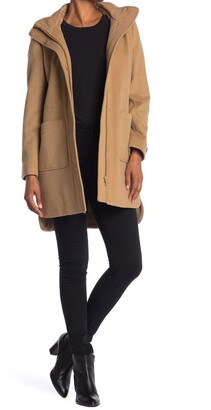 Donna Karan Hooded Wool Blend Coat