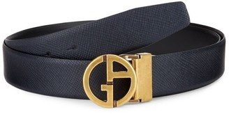 Giorgio Armani Goldtone Logo Leather Belt