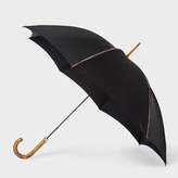 Paul Smith Black Signature Stripe Trim Walker Umbrella With Wooden Handle