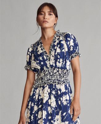 Ralph Lauren Pleated Floral-Print Dress