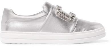 Roger Vivier Sneaky Viv Crystal-embellished Metallic Leather Slip-on Sneakers - Silver