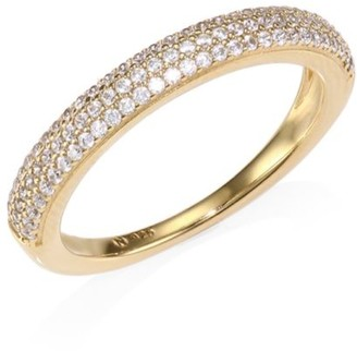 Adriana Orsini 18K Yellow Goldplated Sterling Silver Thin Pave Band