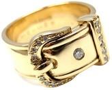 Hermes 18K Yellow Gold Diamond Buckle Band Ring