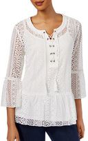 Style And Co. Petite Petite Flounce-Hem Lace Peasant Top
