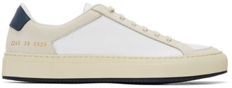 Common Projects White and Navy Retro 70s Sneakers