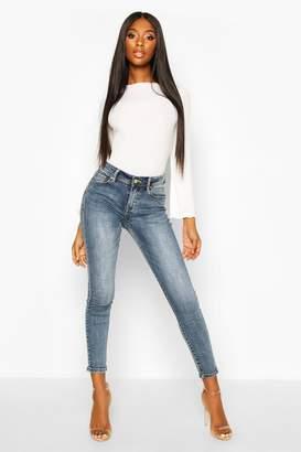 boohoo Mid Rise Stretch Skinny Jeans