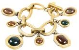 Saint Laurent Gold Tone Hardware Multicolor Glass Stone Charm Bracelet