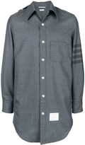 Thom Browne 4-Bar stripe hooded shirt jacket