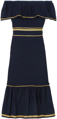 ZEUS + DIONE Leukes Off-the-shoulder Jacquard Midi Dress