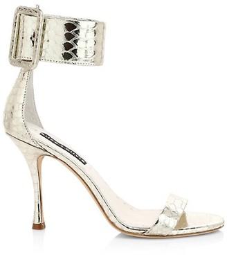 Alice + Olivia Dolora Crocodile-Embossed Metallic Leather Sandals