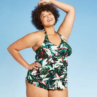 Aqua Green Women's Plus Size Ruffle Halter Tankini Top - Aqua Green® Black-Coral